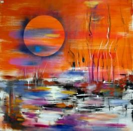 lagune aux joncs 100 x 100 cm acrylique et huile sur toile