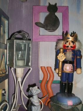 """boite à rêves """"le chat adopté"""" boite en bois objets plateau tournant éclairage 33 X 50 X 17 CM"""