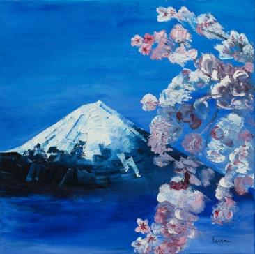 LAVENU_Mont Fuyi et cerisiers en fleur Huile 60x60cm