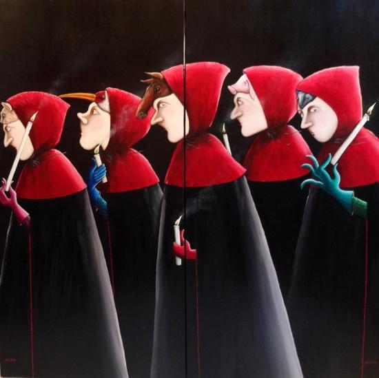 13- congregation aux masques - diptyque (120cm x 120cm)