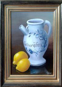 257 2 citrons et sa carafe cadre doré 39x29 cm