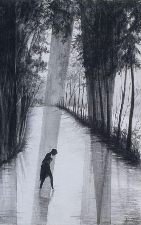 274 S Dessin sur toile Pierre noire La baigneuse 75 cm x 58 cm