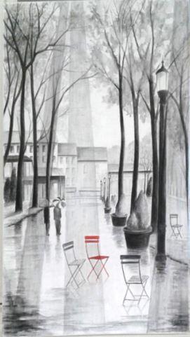 La chaise rouge Dessin sur toile à la Pierre noire 90 x 70 cm.jpg lum 30