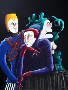 11-P. Etrange trio 50F (116cm x 89cm)