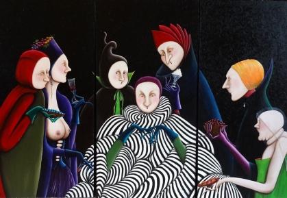 8 - La Mante-Religieuse - triptyque 3x(100x50) - 100cm x 150cm