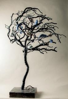 rencontre sur l arbre-turzo-porcelaine et acier -1m40